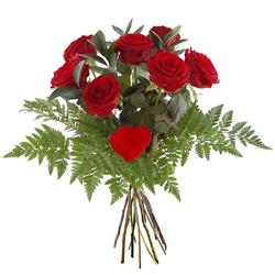 Bukiet 7 róż z sercem Telekwiaciarnia